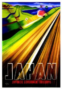 Vintage Travel poster, Japan, Japanese Government Railways
